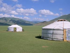 Yurts (Ghers) in Orkhon Valley, Ovorkhangai Province, Mongolia, Central Asia by Bruno Morandi