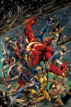 Age of Ultron #5 Cover: Red Hulk, Captain America, Storm, Iron Man, Moon Knight, Hawkey, Wolverine by Bryan Hitch