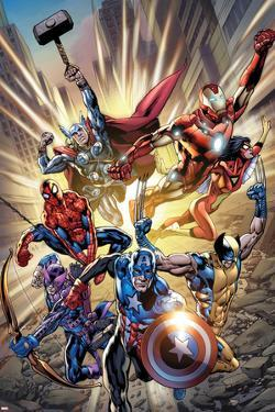 Avengers No.12.1 Cover: Captain America, Hawkeye, Wolverine, Spider-Man, Iron Man, and Others by Bryan Hitch