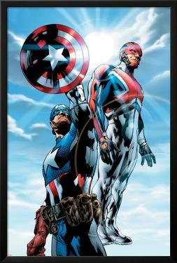 The Ultimates No.4 Cover: Captain America and Captain Britain Charging by Bryan Hitch