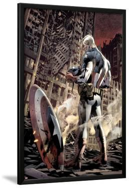 Ultimate Fallout No.6 Cover: Captain America Standing, Looking at his Shield by Bryan Hitch