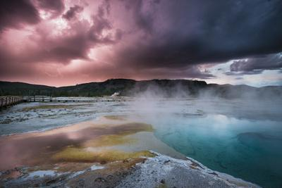Lightining Illuminates The Sunset Sky Over Biscuit Basin, Yellowstone National Park