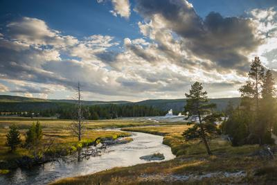 Peaceful Moment Along The Firehole River As It Passes Through Upper Geyser Basin In Yellowstone NP