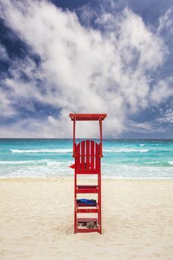 Mexico, Quintana Roo, Yucatan Peninsula, Cancun, Lifeguard Tower on Beach by Bryan Mullennix