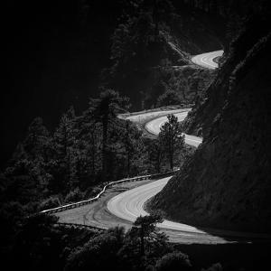 Winding Mountain Road in Black and White by Bryce Eilenberg