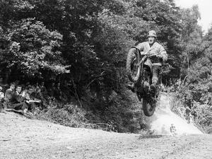 Bsa Motorbike Competing in the Motocross Des Nations, 1952