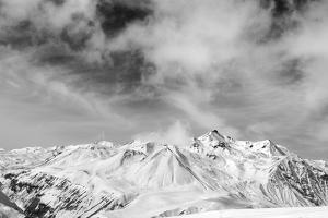 Black and White Snowy Mountains at Wind Day by BSANI
