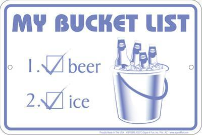 Bucket List Tin Sign