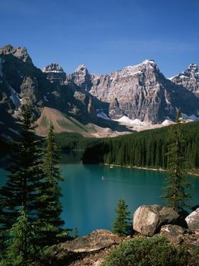Moraine Lake and Surrounding Mountains by Buddy Mays