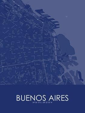 Buenos Aires, Argentina Blue Map