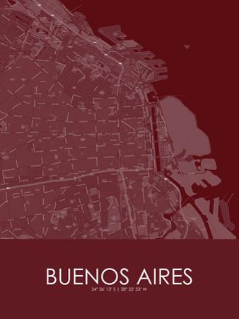 Buenos Aires, Argentina Red Map