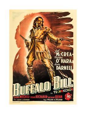 Buffalo Bill, Joel Mccrea on Italian Poster Art, 1944