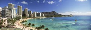 Buildings Along the Coastline, Diamond Head, Waikiki Beach, Oahu, Honolulu, Hawaii, USA