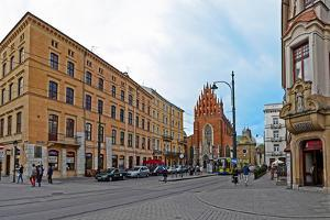 Buildings at a town square, Dominican Square, Krakow, Poland
