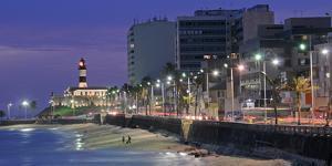 Buildings at Porto Da Barra Beach with Forte De Santo Antonio Lighthouse at Evening, Salvador