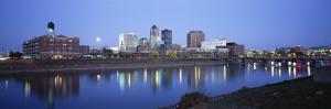 Buildings at the Waterfront Lit Up at Dawn, Des Moines River, Des Moines, Iowa, USA
