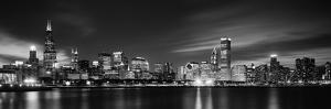 Buildings at the Waterfront Lit Up at Night, Sears Tower, Lake Michigan, Chicago, Cook County