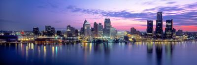 Buildings at waterfront during dawn, Detroit, Wayne County, Michigan, USA