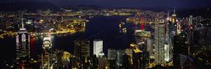 Buildings Illuminated at Night, Hong Kong