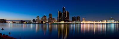 Buildings in a City Lit Up at Dusk, Detroit River, Detroit, Michigan, USA