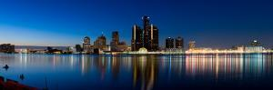 Buildings in a City Lit Up at Dusk, Detroit River, Detroit, Michigan, USA