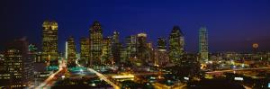 Buildings in a City Lit Up at Night, Dallas, Texas