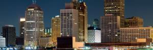 Buildings in a City Lit Up at Night, Detroit River, Detroit, Michigan, USA