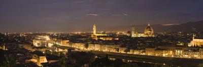 Buildings in a City, Ponte Vecchio, Arno River, Duomo Santa Maria Del Fiore, Florence, Tuscany, ...