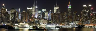 Buildings in City Lit Up at Night, Hudson River, Midtown Manhattan, Manhattan, New York City