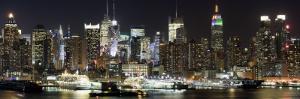 Buildings in City Lit Up at Night, Hudson River, Midtown Manhattan, Manhattan, New York City
