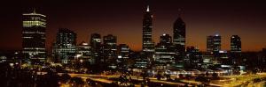 Buildings Lit Up at Dawn, Perth, Western Australia, Australia