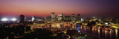 Buildings Lit Up at Dusk, Baltimore, Maryland, USA