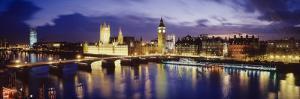 Buildings Lit Up at Dusk, Big Ben, Houses of Parliament, London, England