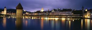 Buildings Lit Up at Dusk, Chapel Bridge, Reuss River, Lucerne, Switzerland