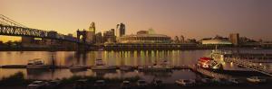 Buildings Lit Up at Dusk, Cincinnati, Ohio, USA