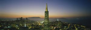 Buildings Lit Up at Dusk, Transamerica Pyramid, San Francisco, California, USA