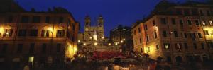 Buildings Lit Up at Night in a City, Spanish Steps, Trinita Dei Monti, Rome, Italy