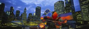 Buildings Lit Up at Night, Millennium Park, Chicago, Illinois, USA