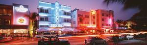 Buildings Lit Up at Night, South Beach, Miami Beach, Florida, USA