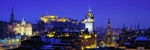 Buildings Lit Up at Night with a Castle in the Background, Edinburgh Castle, Edinburgh, Scotland