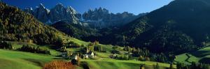 Buildings on a Landscape, Dolomites, Funes Valley, le Odle, Santa Maddalena, Tyrol, Italy