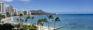Buildings on the Beach, Waikiki Beach, Honolulu, Oahu, Hawaii, USA