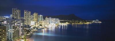 Buildings on the Waterfront, Waikiki, Honolulu, Oahu, Hawaii, USA