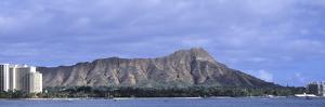 Buildings with Mountain Range in the Background, Diamond Head, Honolulu, Oahu, Hawaii, USA