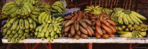 Bunches of Banana on a Market Stall, Thanjavur, Tamil Nadu, India