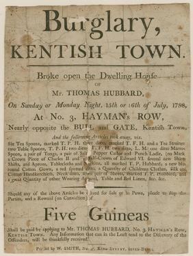 Burglary in Kentish Town in 1798. Reward of £5
