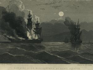 Burning of U.S. Merchantman by Rebel Pirates, 1865