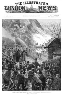 Burning the Houses of Evicted Tenants at Glenbeigh, County Kerry, Ireland, 1887 by A Forestier