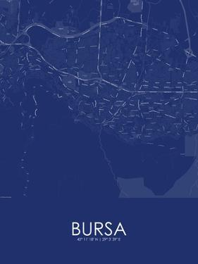 Bursa, Turkey Blue Map