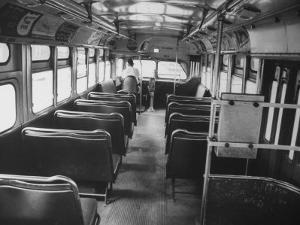 Bus Driver on Empty Bus During Boycotting by African Americans